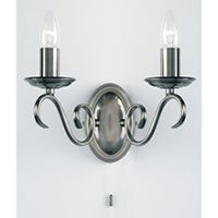 Endon 2030-2AS Luminaire BC 2x60W Silver