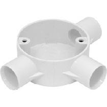 25mm PVC Conduit Box 3 Way Tee Box White