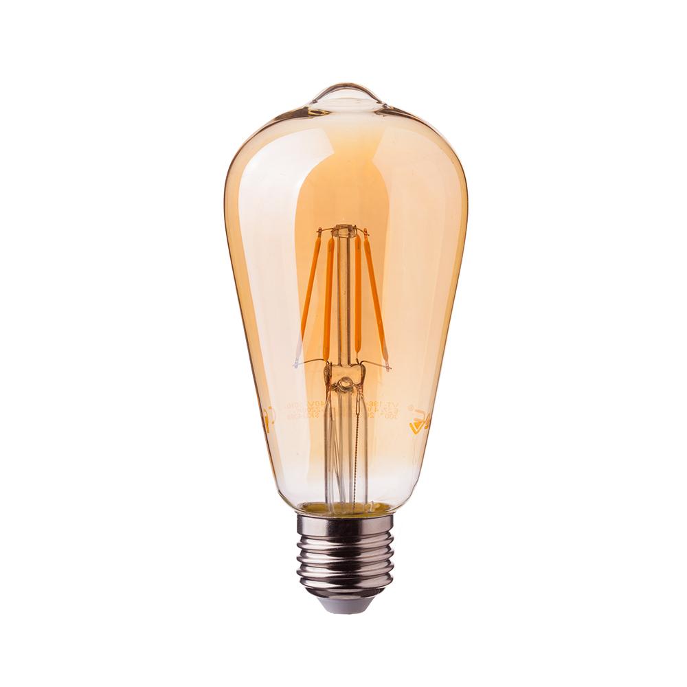 V-TAC 4361 4W LED ST64 FILAMENT AMBER GLASS BULB 2200K E27