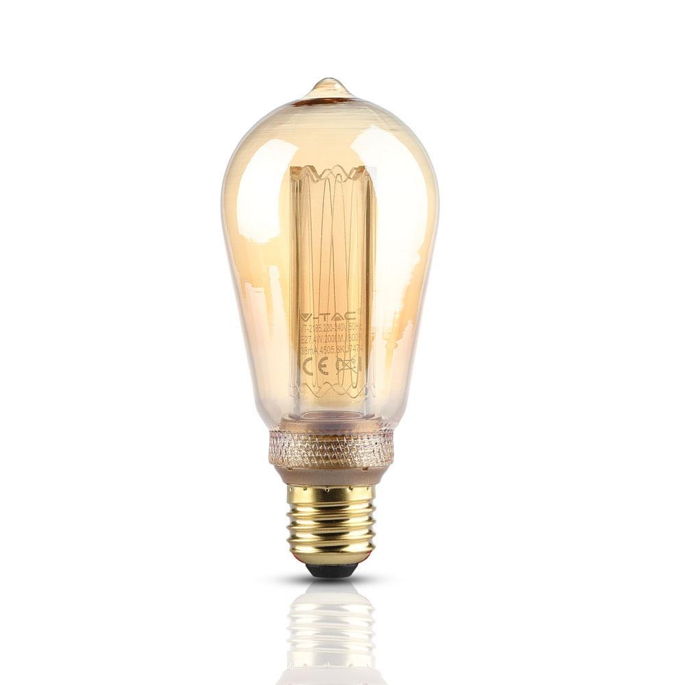 VT-2185 4W ST64 LED ART FILAMENT BULB-AMBER GLASS COLORCODE:1800K E27