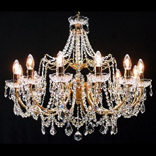 Andrea  French Gold Chandelier. Full Lead Crystal  Strands & Pendeloques