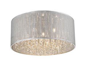 Selma Flush Crystal Ceiling 6 Light in Silver 45cm(w)