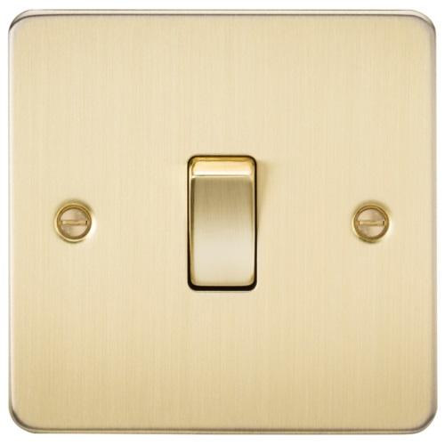 Flat Plate 10AX 1G 2 Way Switch - Brushed Brass