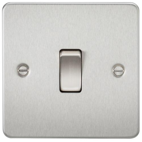 Flat Plate 10AX 1G 2 Way Switch - Brushed Chrome
