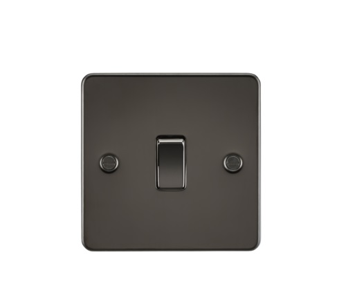 Flat Plate 10AX 1G 2 Way Switch - Gunmetal