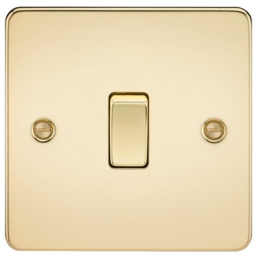 Flat Plate 10AX 1G 2 Way Switch - Polished Brass