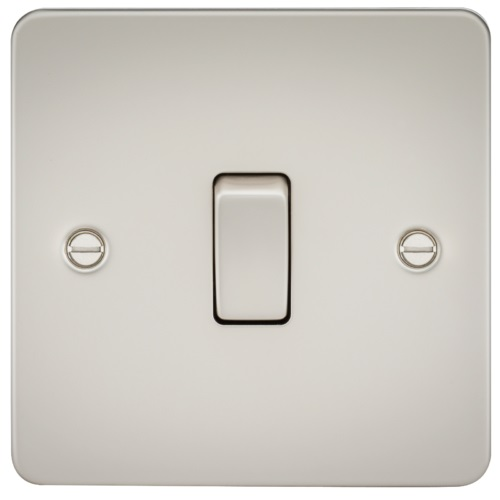 Flat Plate 10AX 1G 2 Way Switch - Pearl