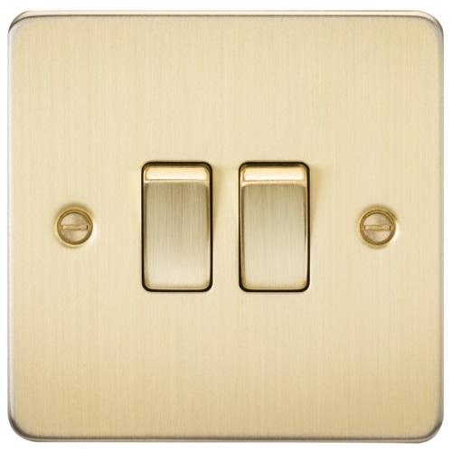 Flat Plate 10AX 2G 2-way switch - brushed brass