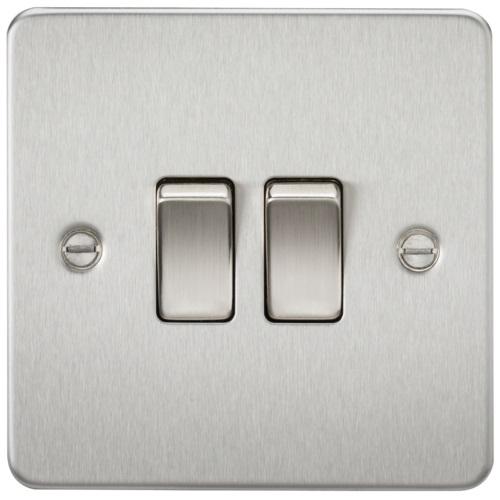 Flat Plate 10AX 2G 2-way switch - brushed chrome