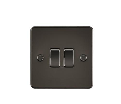 Flat Plate 10AX 2G 2-way switch - gunmetal