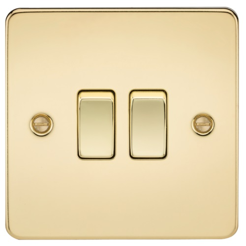 Flat Plate 10AX 2G 2-way switch - polished brass