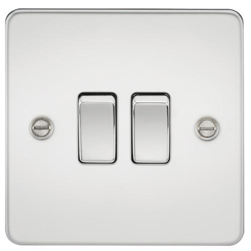 Flat Plate 10AX 2G 2-way switch - polished chrome