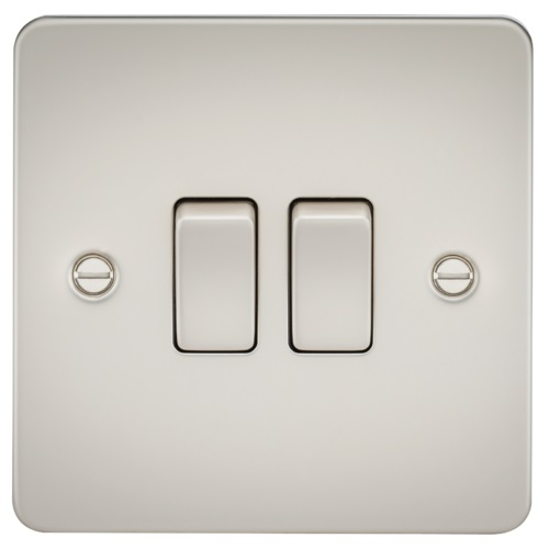 Flat Plate 10AX 2G 2-way switch - pearl