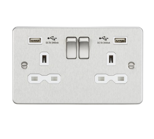 Flat plate 13A 2G switched socket with dual USB charger (2.4A) - brushed chrome with white insert