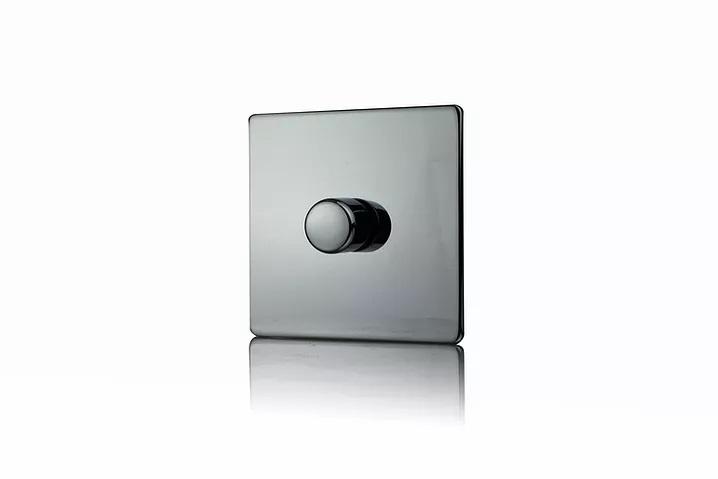 Premspec 1G 400W Push Dimmer Screwless Black Nickel