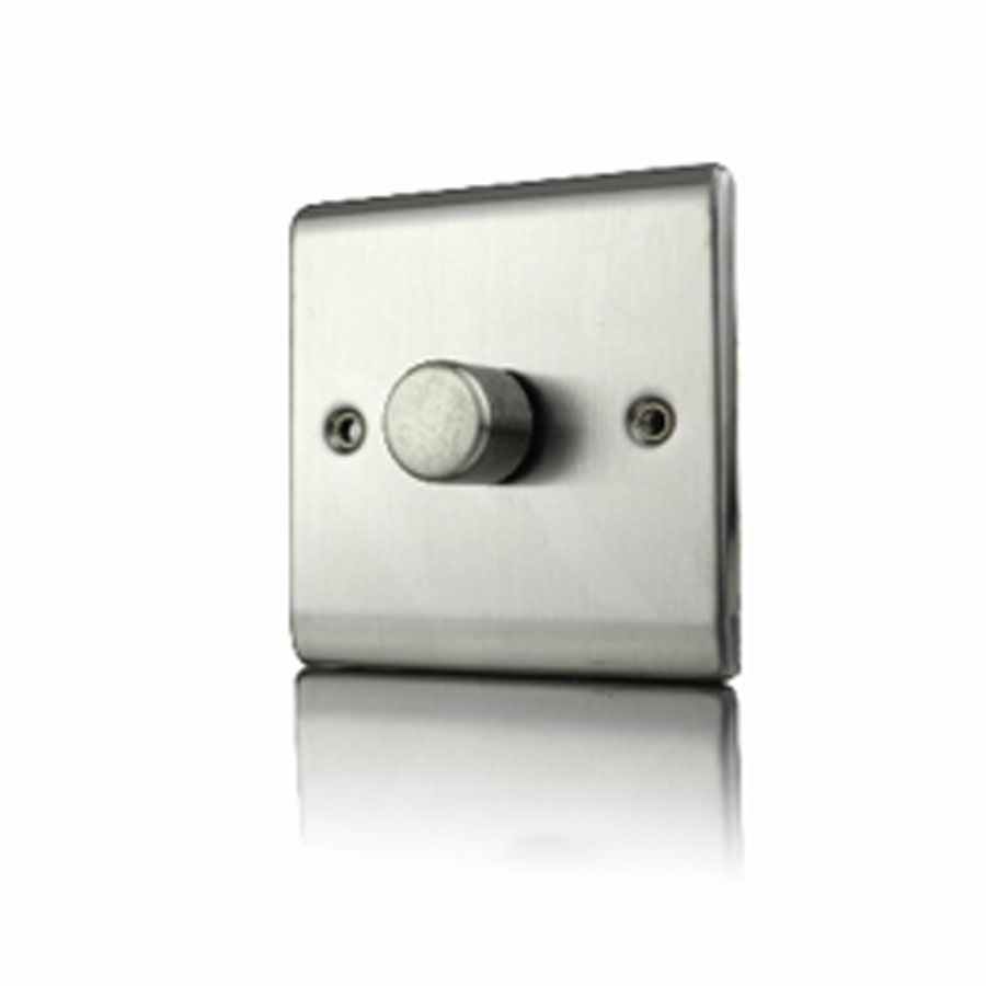 Premspec 1G 400W Push Dimmer Satin Steel