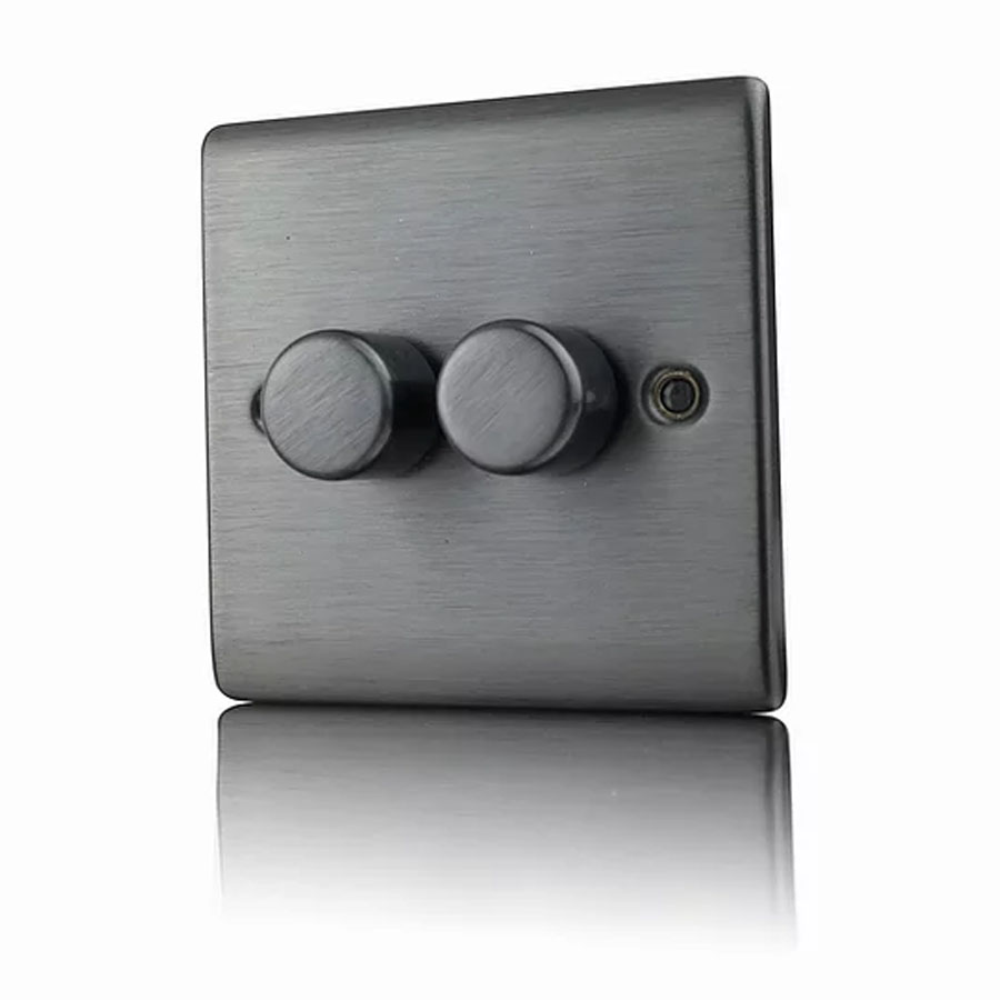 Premspec 2G 250W Push Dimmer Satin Nickel
