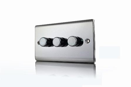 Premspec 3G 250W Push Dimmer Black Nickel