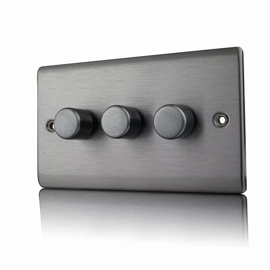Premspec 3G 250W Push Dimmer Satin Nickel