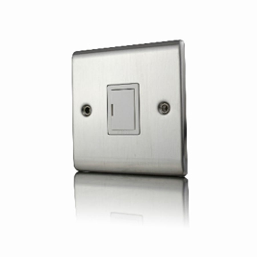 Premspec 13A Un-Switched FCU Satin Steel White Insert