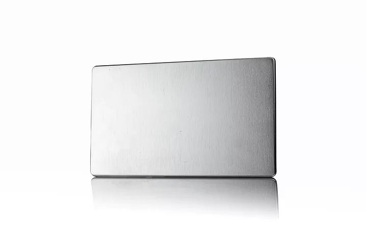 Premspec 2G Blank Plate Screwless in Satin Steel