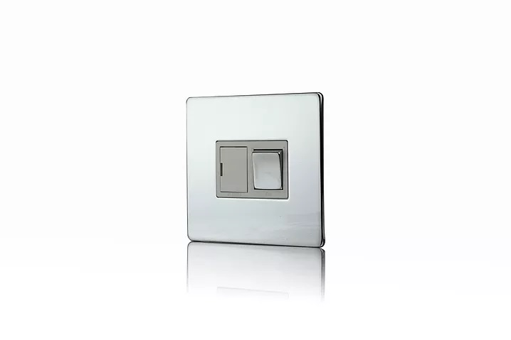 Premspec 13A Switched FCU Screwless In Polished Chrome with White Insert