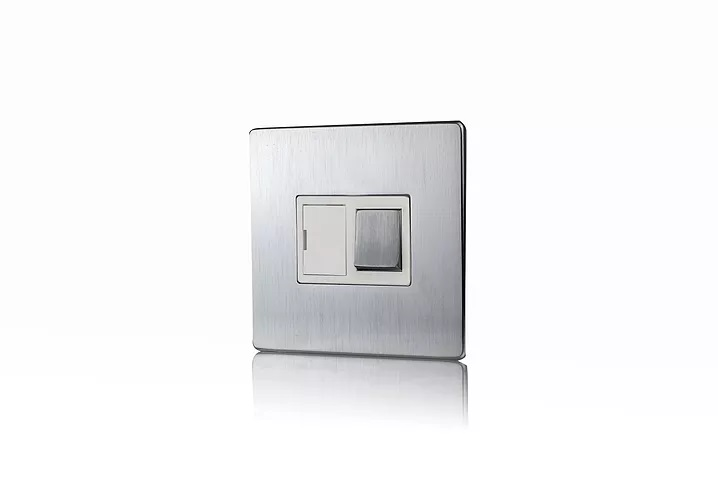 Premspec 13A Switched FCU Screwless In Satin Steel with White Insert