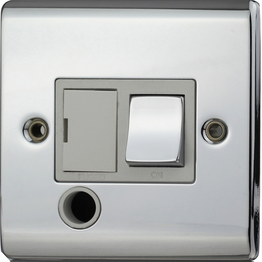 Premspec 13a Switched FCU F/O Polished Chrome White Insert