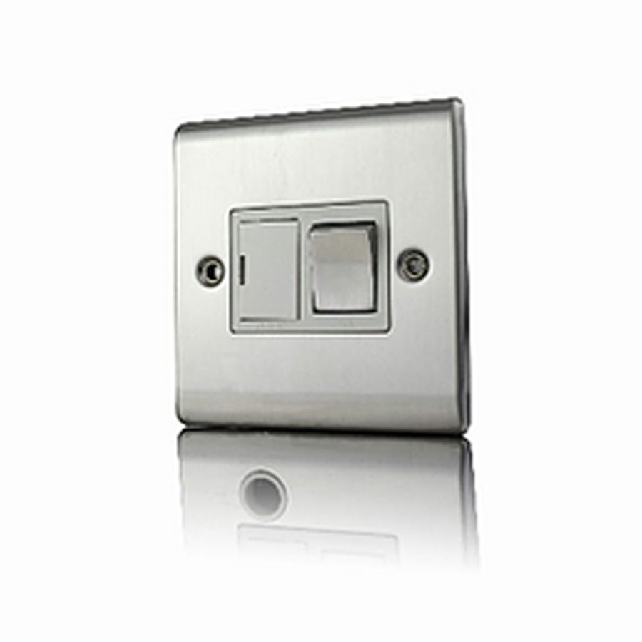 Premspec 13A Switched FCU Satin Steel White Insert