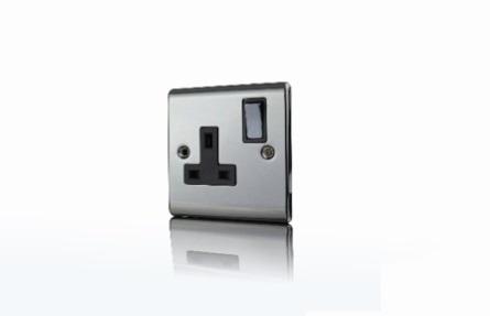 Premspec 1G 13A DP Switched Socket Black Nickel