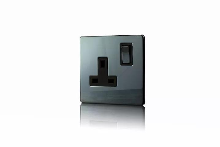 Premspec 1G 13 DP Switched Socket Screwless In Black Nickel
