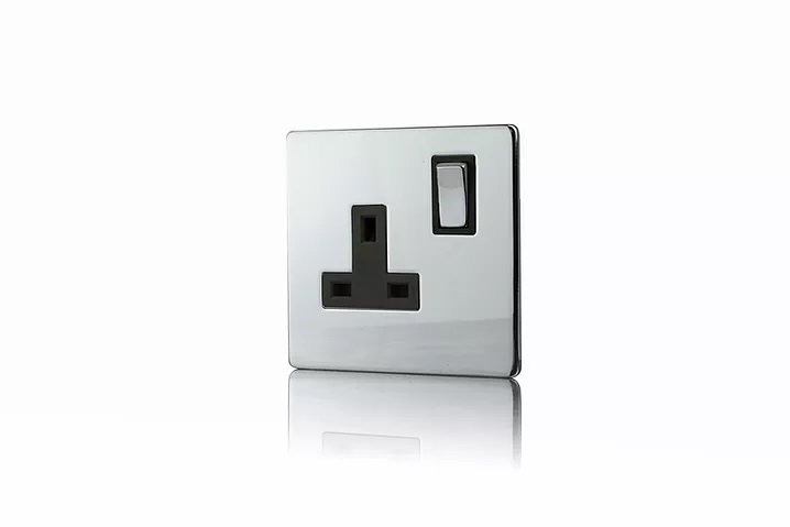 Premspec 1G 13A DP Switched Socket Screwless in Polished Chrome with Black Inserts