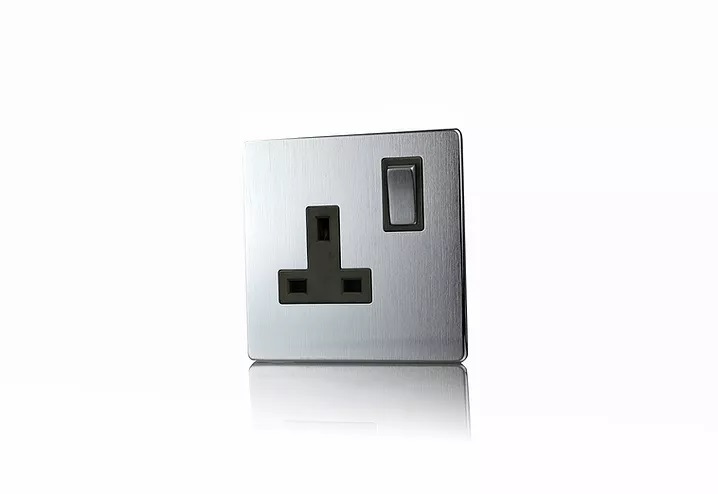 Premspec 1G 13A DP Switched Socket Screwless in Satin Steel with Black Inserts