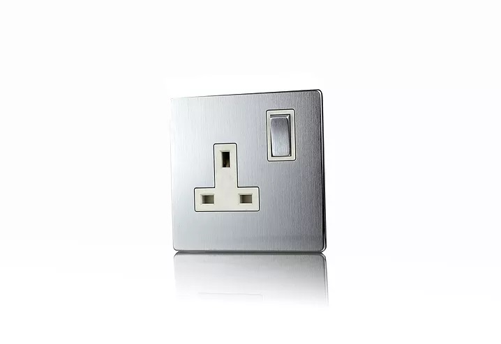 Premspec 1G 13A DP Switched Socket Screwless in Satin Steel with White Inserts