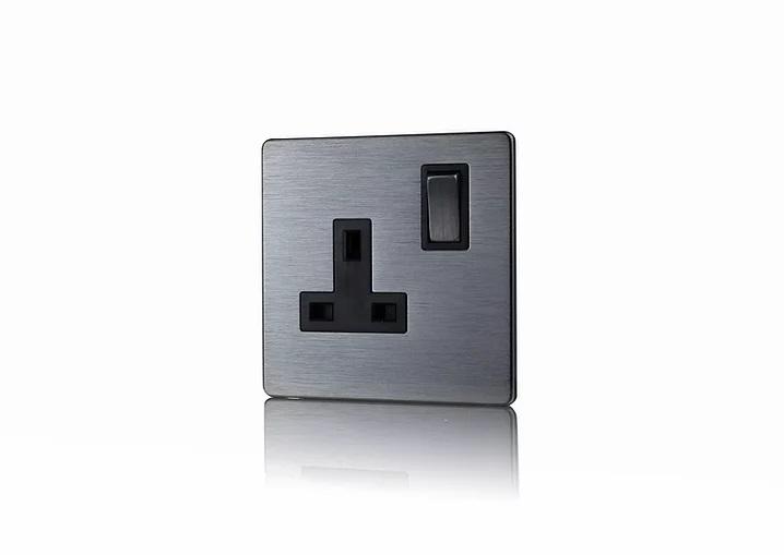 Premspec 1G 13A DP Switched Socket Screwless in Satin Nickel