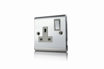 Premspec 1G 13A DP Switched Socket Polished Chrome With White Insert