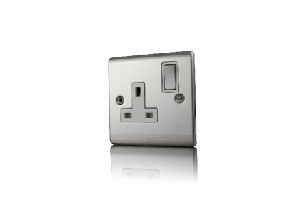 Premspec 1G 13A DP Switched Socket Satin Steel in White Inserts Satin Steel