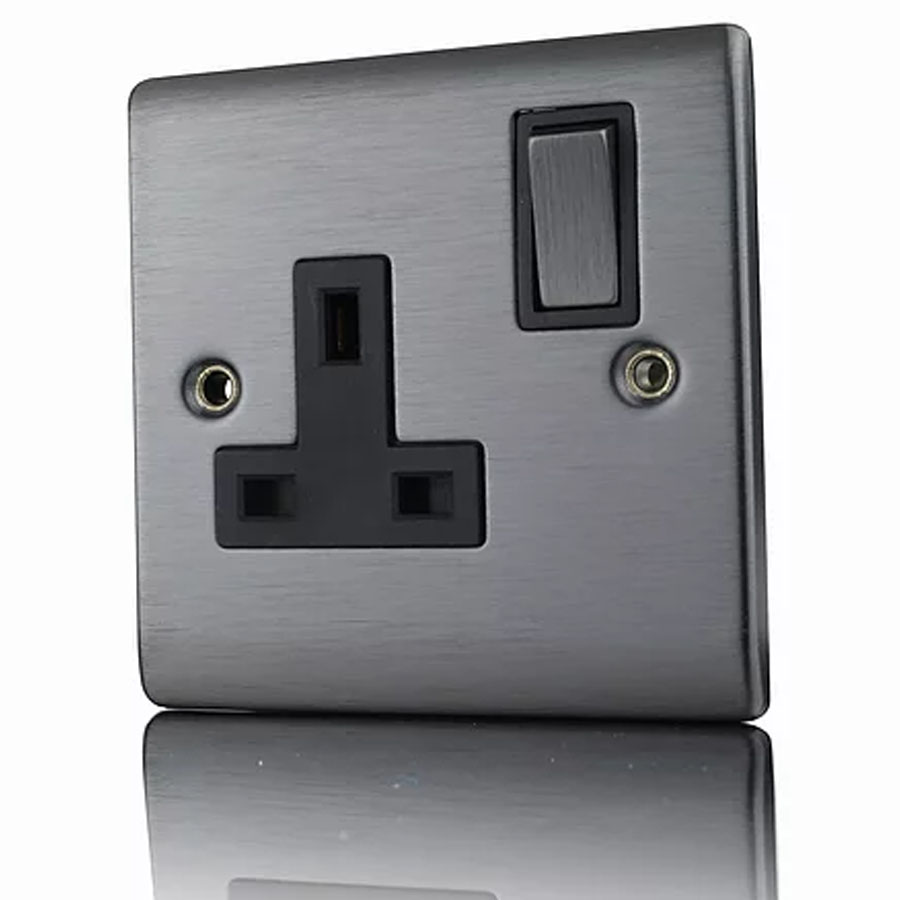 Premspec 1G 13A DP Switched Socket Black Nickel