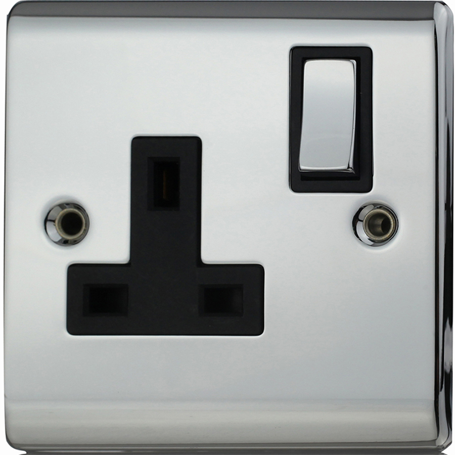Premspec 1G 13A DP Switched Socket Polished Chrome With Black Insert