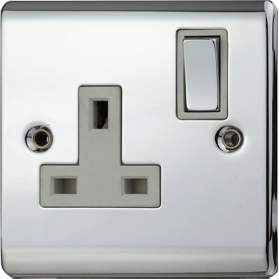 Premspec 1G 13A DP Switched Socket Polished Chrome with White Inserts