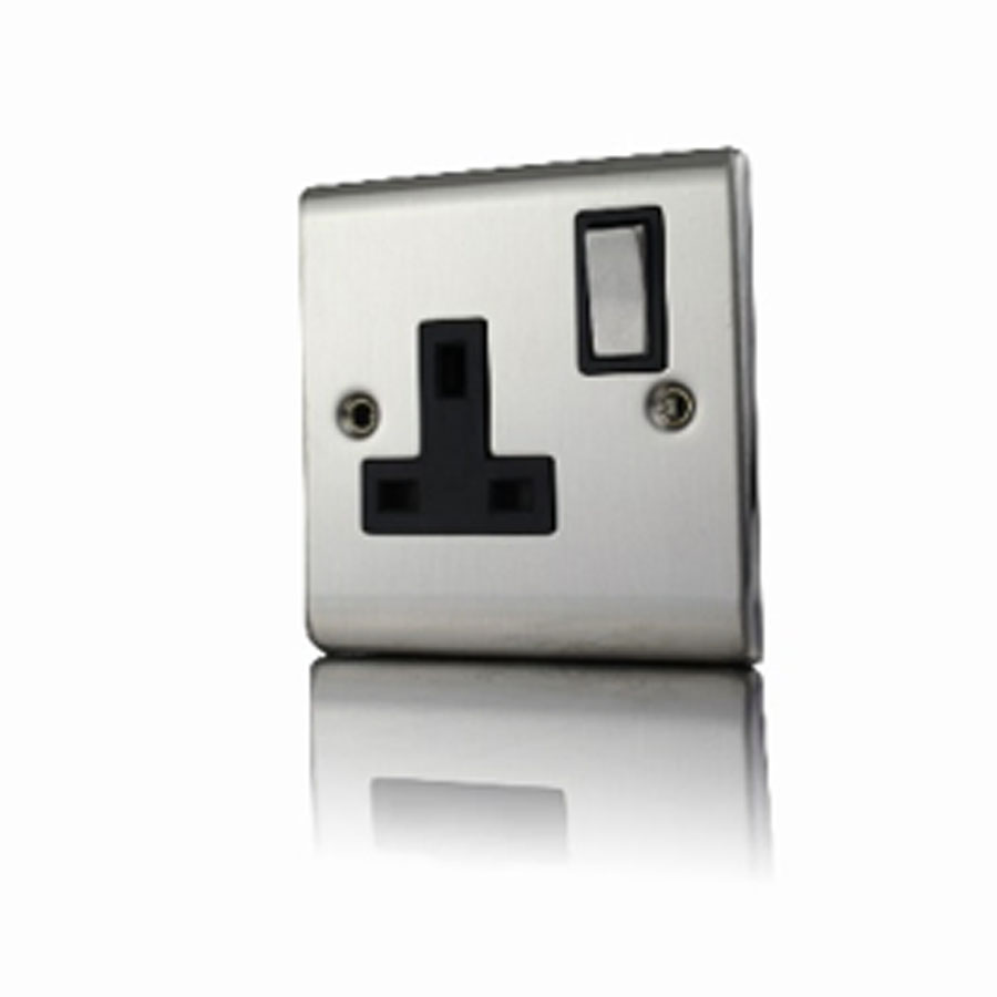 Premspec 1G 13A DP Switched Socket Satin Steel With Black Insert