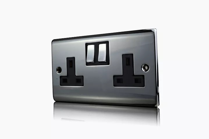 Premspec 2G 13A DP Switched Socket Black Nickel