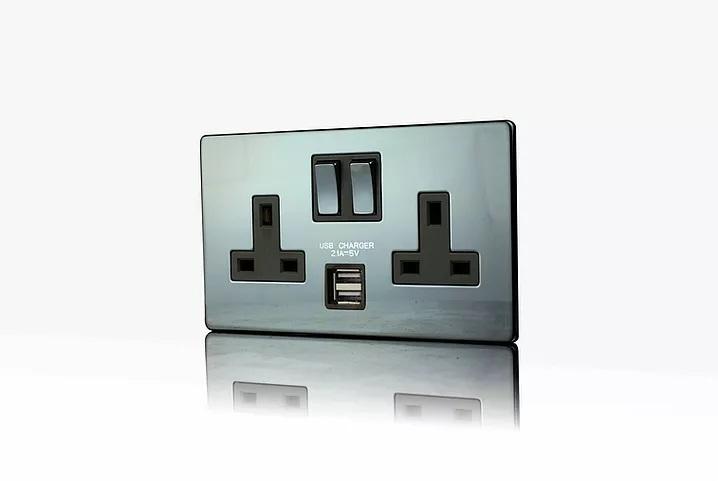 Premspec 2G 13A Switched USB Socket Screwless In Black Nickel
