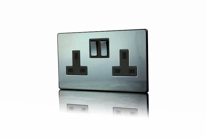 Premspec 2G 13A DP Switched Socket Black Nickel Screwless