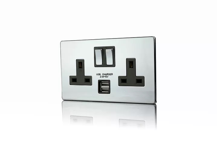 Premspec 2G 13A Switched USB Socket Screwless In Polished Chrome with Black Insert
