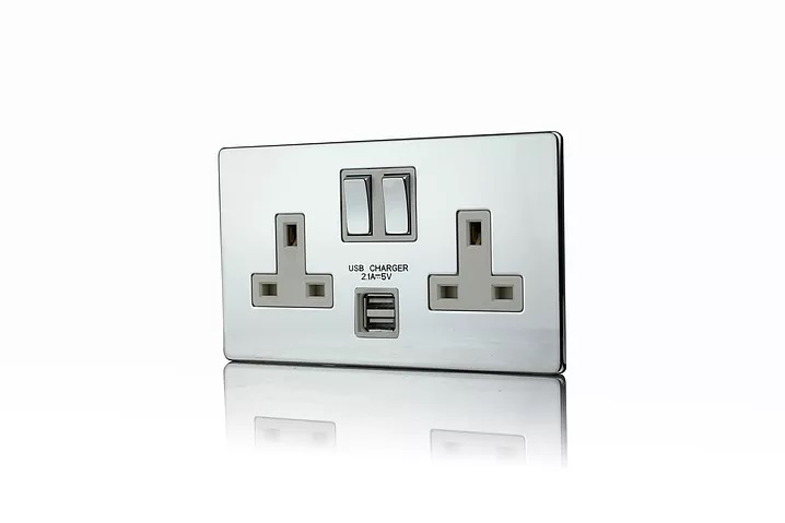 Premspec 2G 13A Switched USB Socket Screwless In Polished Chrome with White Insert