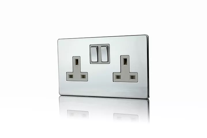 Premspec 2G 13A DP Switched Socket Polished Chrome Screwless with a White Insert