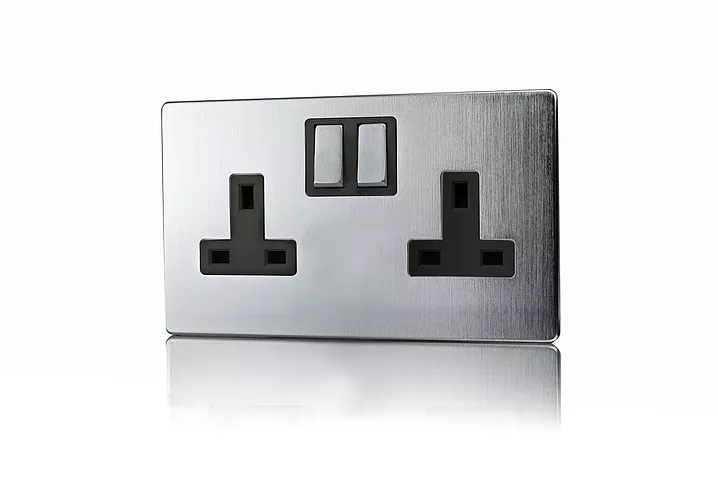 Premspec 2G 13A Switched Socket Screwless In Satin Chrome with Black Insert