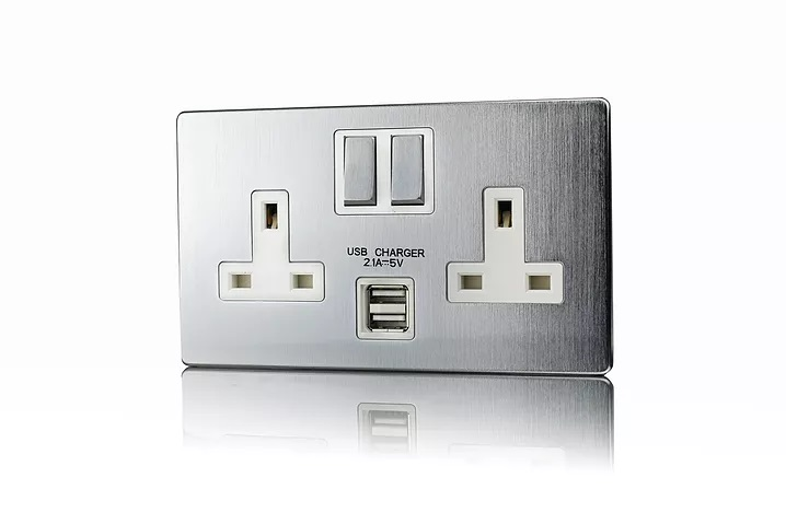 Premspec 2G 13A Switched USB Socket Screwless In Satin Steel White Insert