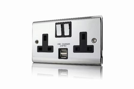 Premspec 2G 13A DP Switched USB Socket Polished Chrome Black Insert